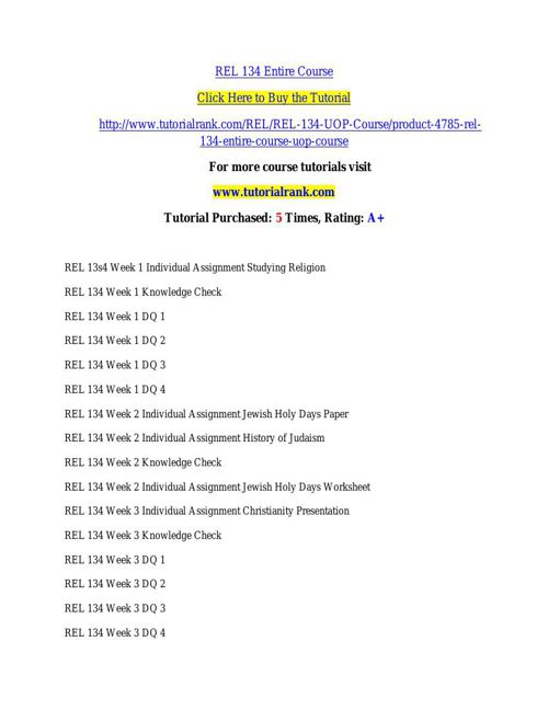 REL 134 Potential Instructors / tutorialrank.com