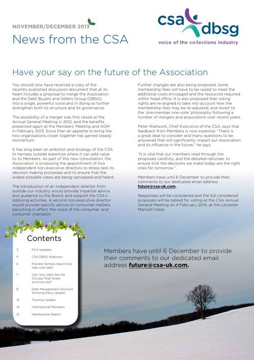 CSA Newsletter Nov / Dec 2013