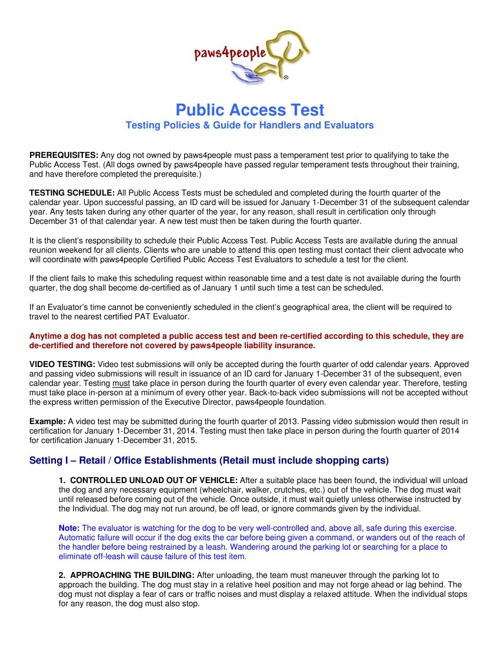 paws4people Public Access Test Guide for Evaluators and Handlers