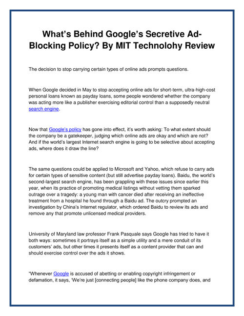 What's Behind Googles Secretive Ad-Blocking Policy By MIT Techno