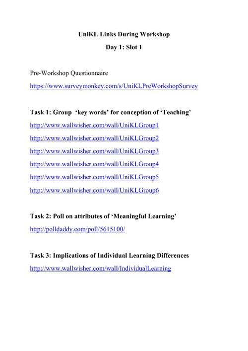 Web 2.0 Workshop Day 1