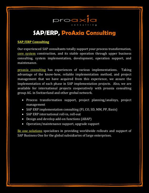 SAP/ERP, ProAxia Consulting