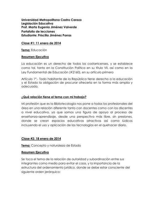 Portafolio de legislacion educativa Priscilla Jiménez Porras