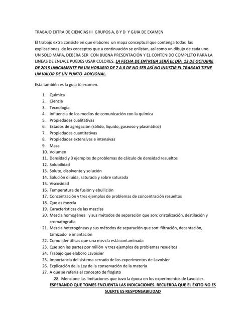 TRABAJO EXTRA DE CIENCIAS III  Y GUIA DE EXAMEN QUIMICA