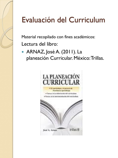 Evaluación del curriculum - Arnaz