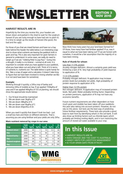 WMG Agriservices: Newsletter - NOVEMBER