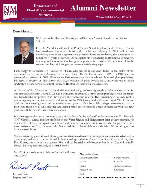 Alumni Newsletter Winter 13-14