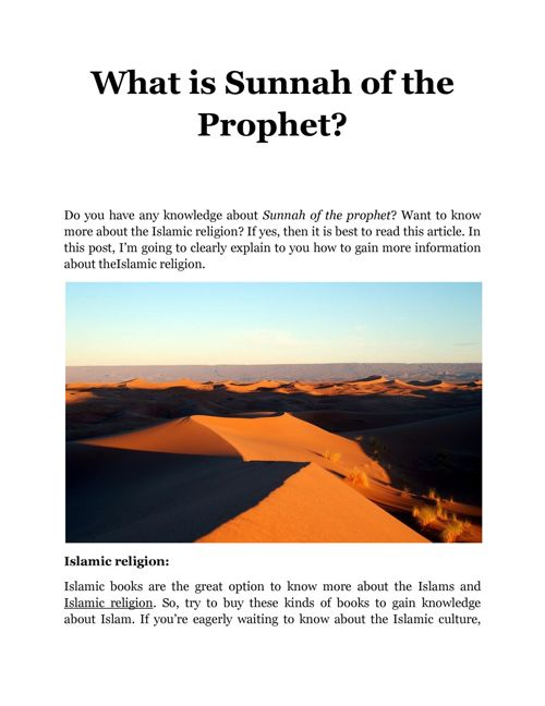 Sunnah of the Prophet