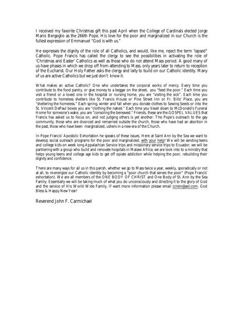 Father Carmichael's Christmas Message