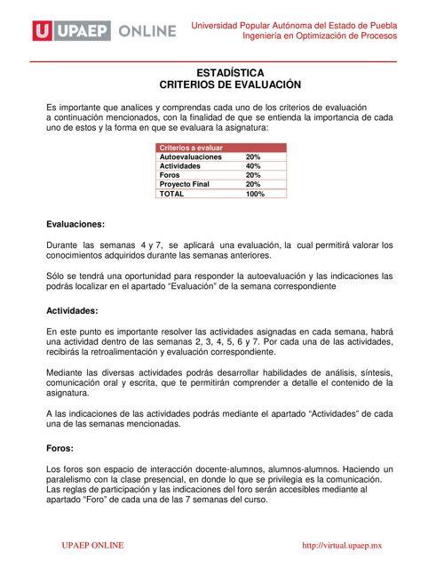 Criterios de Evaluación Estadística IOP