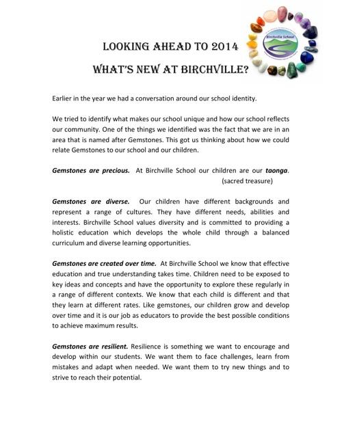 Birchville School - Our Identity