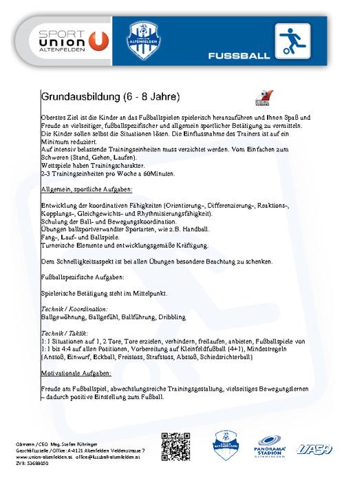 Konzept | Grundausbildung (Sportunion Fußball Altenfelden)