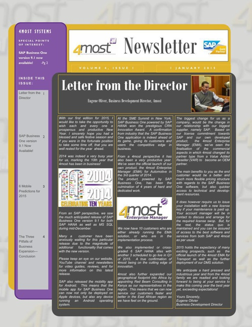 4most Newsletter January 2015