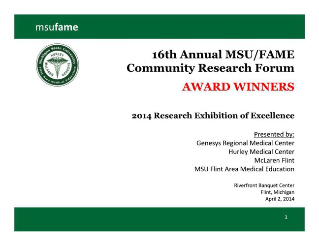 2014 MSU/FAME Community Research Forum Awards (Flint, Michigan)