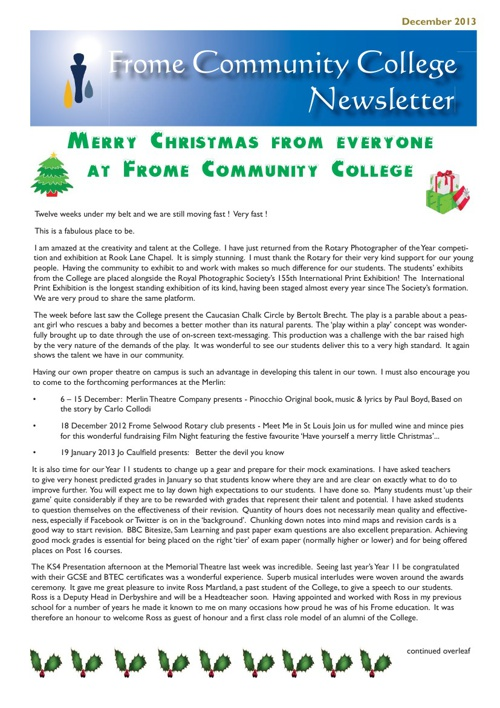 Frome Community College Newsletter