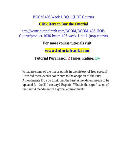 BCOM 405 Course Success Begins / tutorialrank.com
