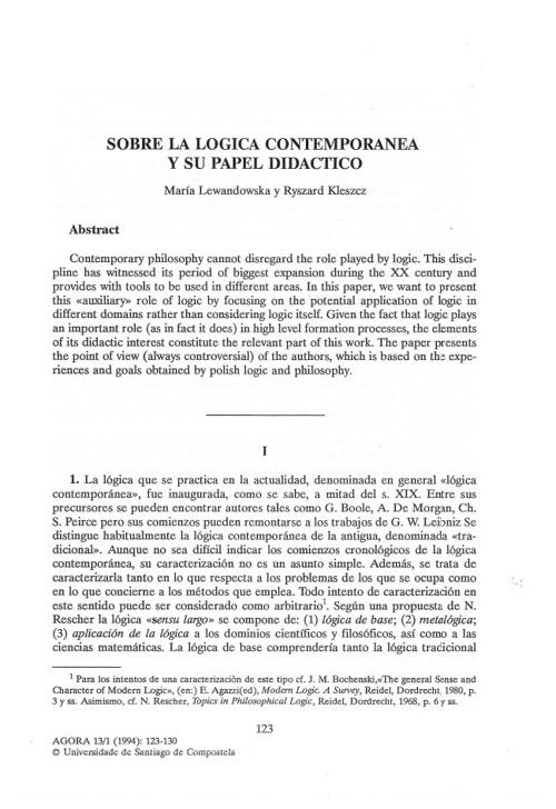 1.2 Lógica Contemporánea