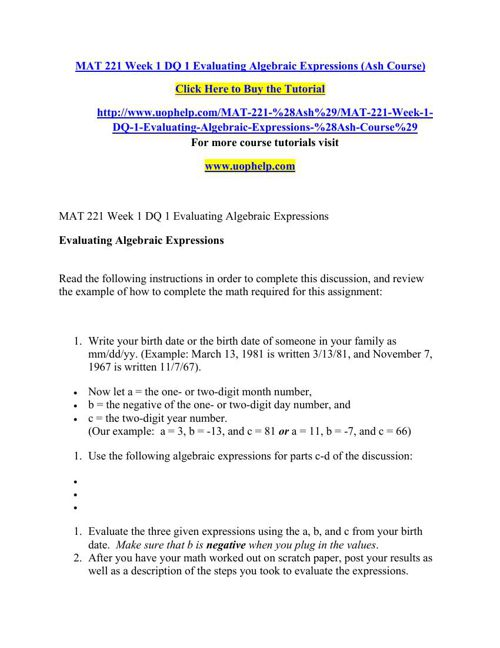 MAT 221 Week 1 DQ 1 Evaluating Algebraic Expressions (Ash Course