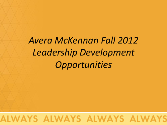 Leadership Development Curriculum 2012