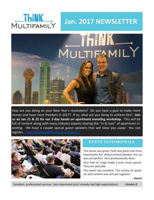 Januay 2017 - Think Multifamily Newsletter
