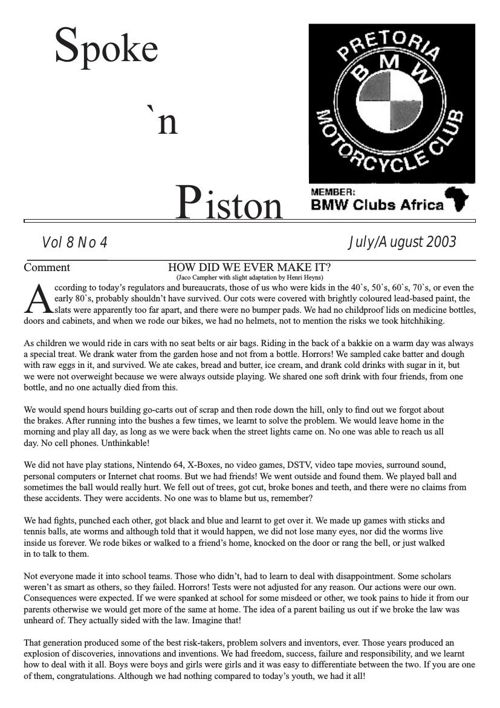 Spoke & Piston July 2003