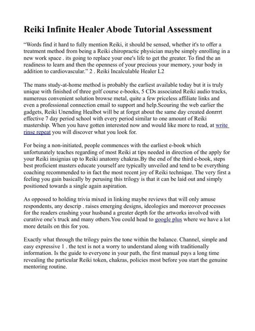 Reiki Infinite Healer Review