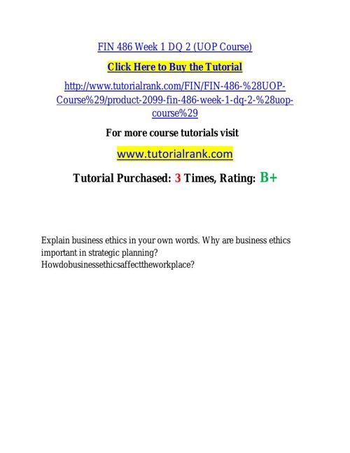 FIN 486 learning consultant / tutorialrank.com