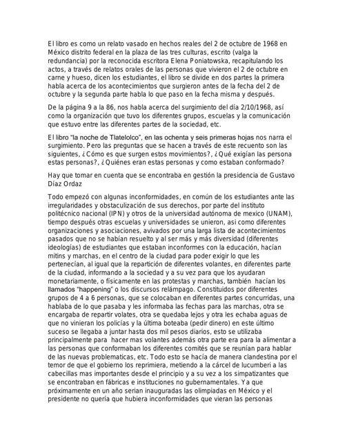 reporte de lectura (la noche de tlatelolco)