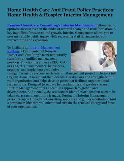 Home Health Care Anti Fraud Policy Practices: Home Health & Hosp
