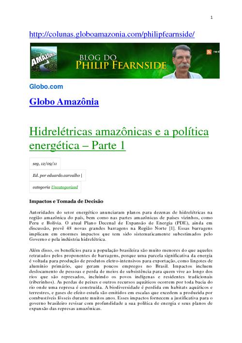 Hidrelétricas amazônicas e a política energética