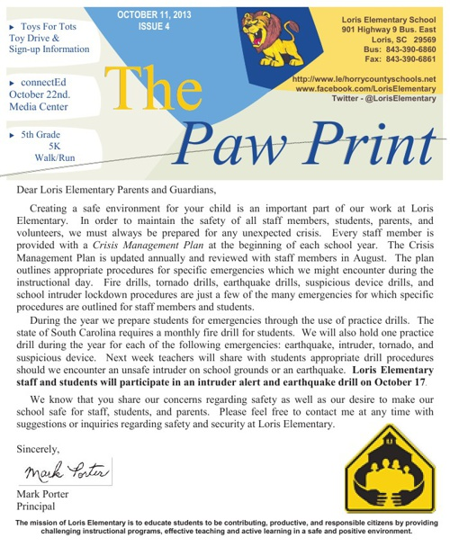 10-11-13 Issue  IV The Paw Print