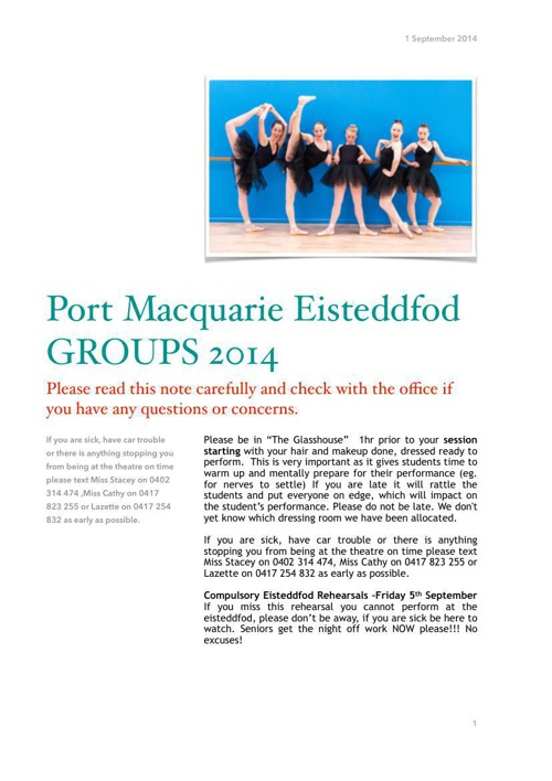 Port Eisteddfod groups note 2014