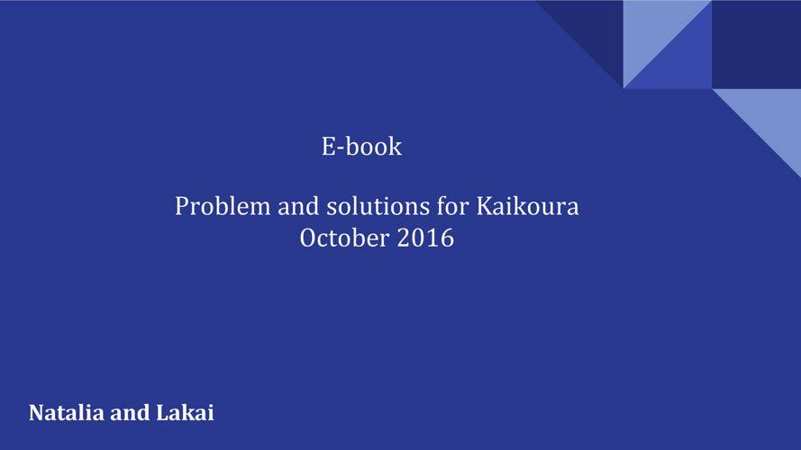 Solutions for Kaikoura earthquake problems