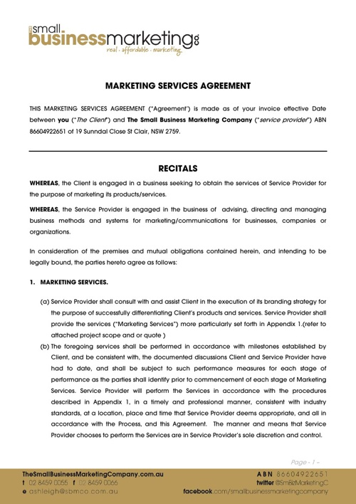 General Marketing Services Terms & Conditions - SBMCo