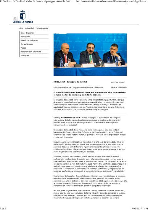 Consejeria Sanidad-El Gobierno CLM destaca el protagonismo de la