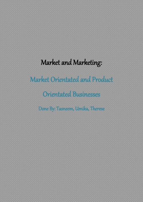 Market & Marketing