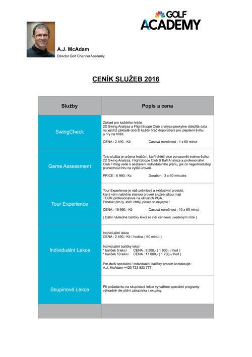 GCA price list 2016 CZECH
