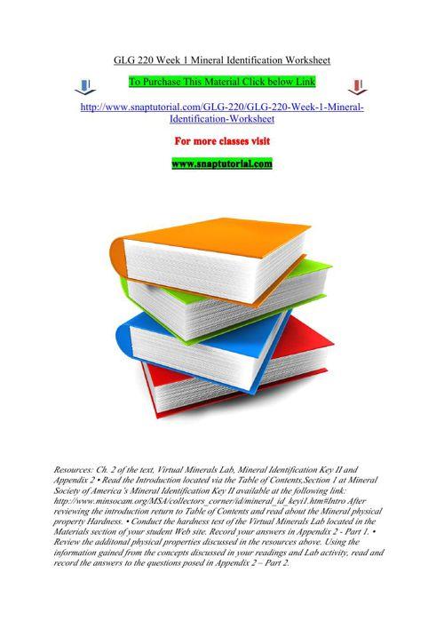 GLG 220 Week 1 Mineral Identification Worksheet