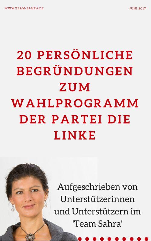 20 persönliche Begründungen zum Wahlprogramm von DIE LINKE