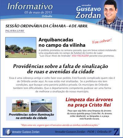 Informativo Gustavo Zordan - 1º Edição (5 de maio de 2015)