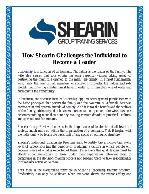 How Shearin Challenges the Individual to Become a Leader