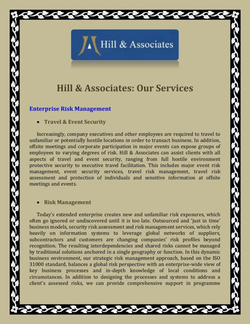 Hill & Associates: Our Services