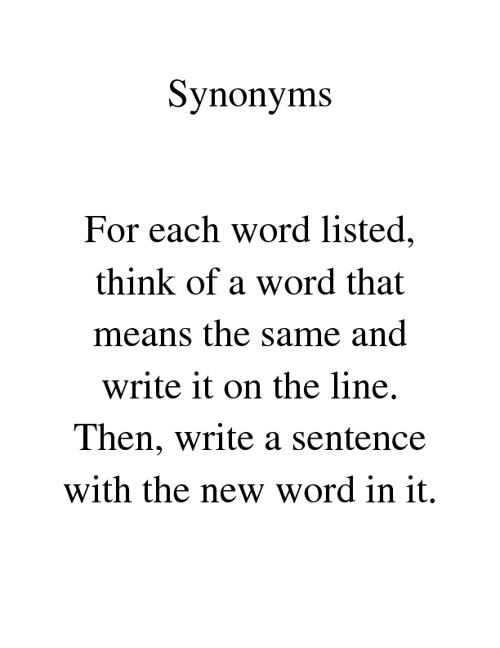 Synonyms Book 1