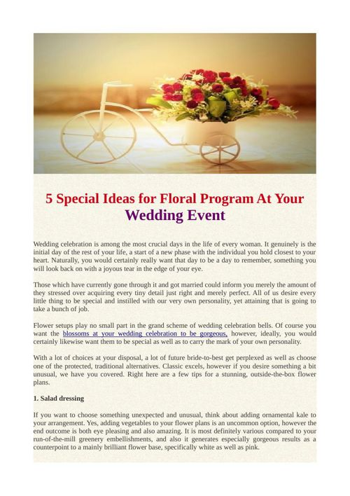 5 Special Ideas for Floral Program At Your Wedding Event