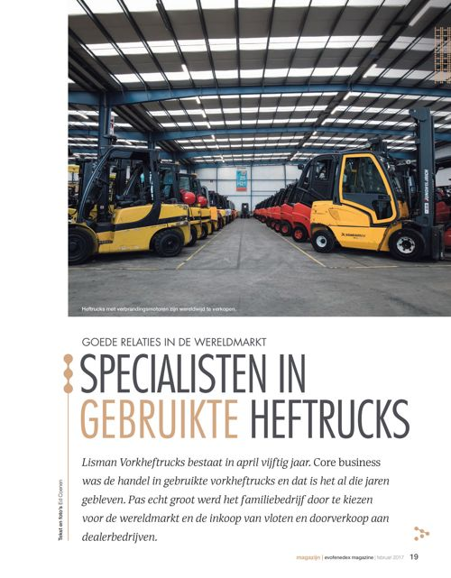 Artikel over Lisman Forklifts in het EvoFenedex Magazine