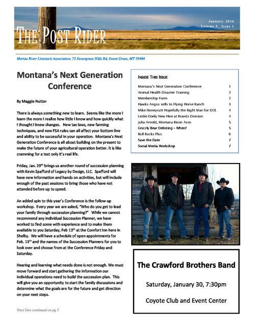 MRLA 2016 Post Rider Newsletters