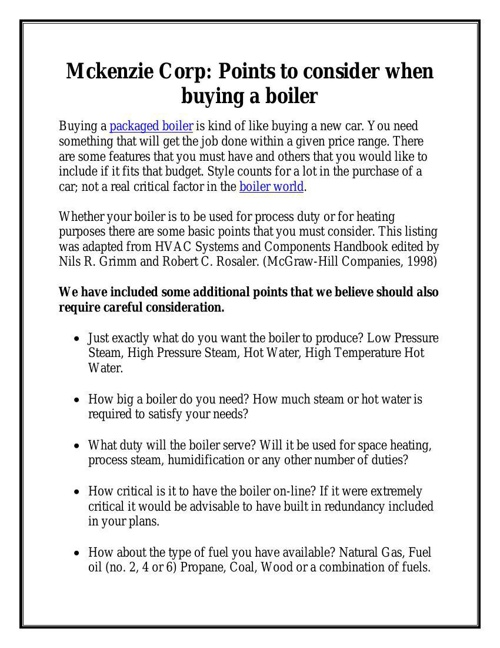 Mckenzie Corp: Points to consider when buying a boiler