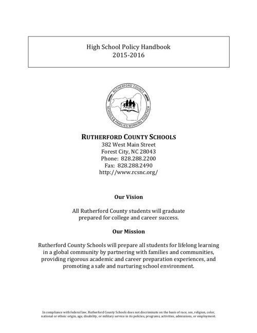 High School Policy Handbook 2015-2016