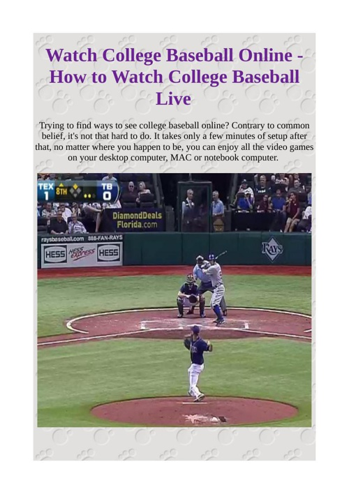 Watch College Baseball Online - How to Watch College Baseball Li