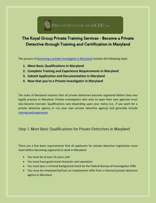 The Koyal Group Private Training Services - Become a Private Det